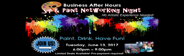 sip and paint, networking event