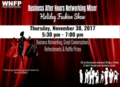 holiday networking event, business networking event, holiday fashion show