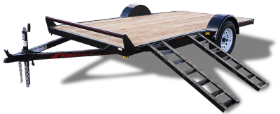 Single Axle Utility Trailer with Ramps and Rubrail