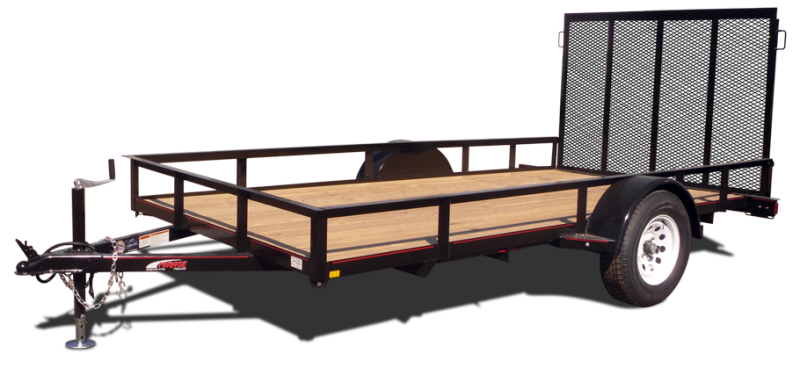 "Angle frame utility trailer with railing and 48"" ramp gate"