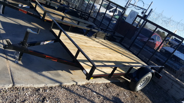 Angle Frame Utility Trailer with Railing and Ramp