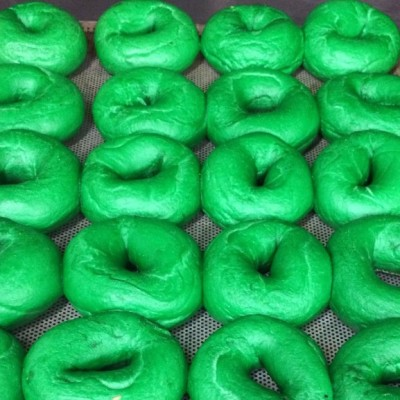 Green bagels for St. Patrick's Day.