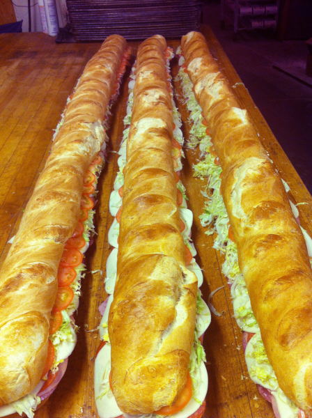 3 six-foot subs.