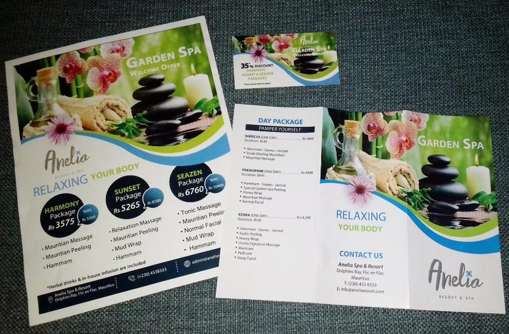 Anelia Spa Flic en Flac Discount Voucher, A4 Leaflet, Tri-Fold Spa Menu