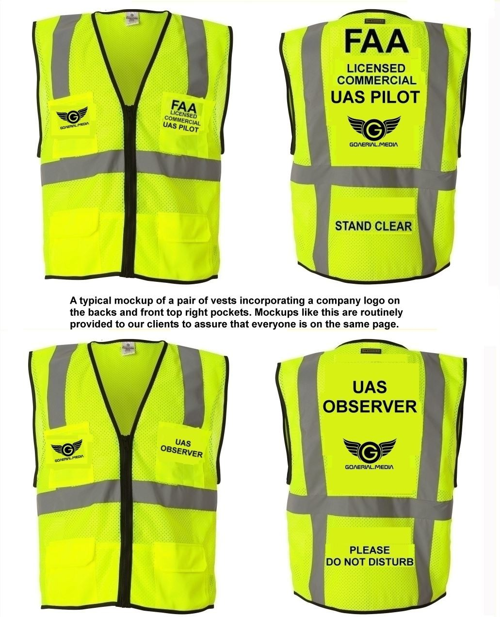 R1 Flt Ops Offers FAA Part §107 Drone Pilot & Observer High Visibility Drone Safety Vests