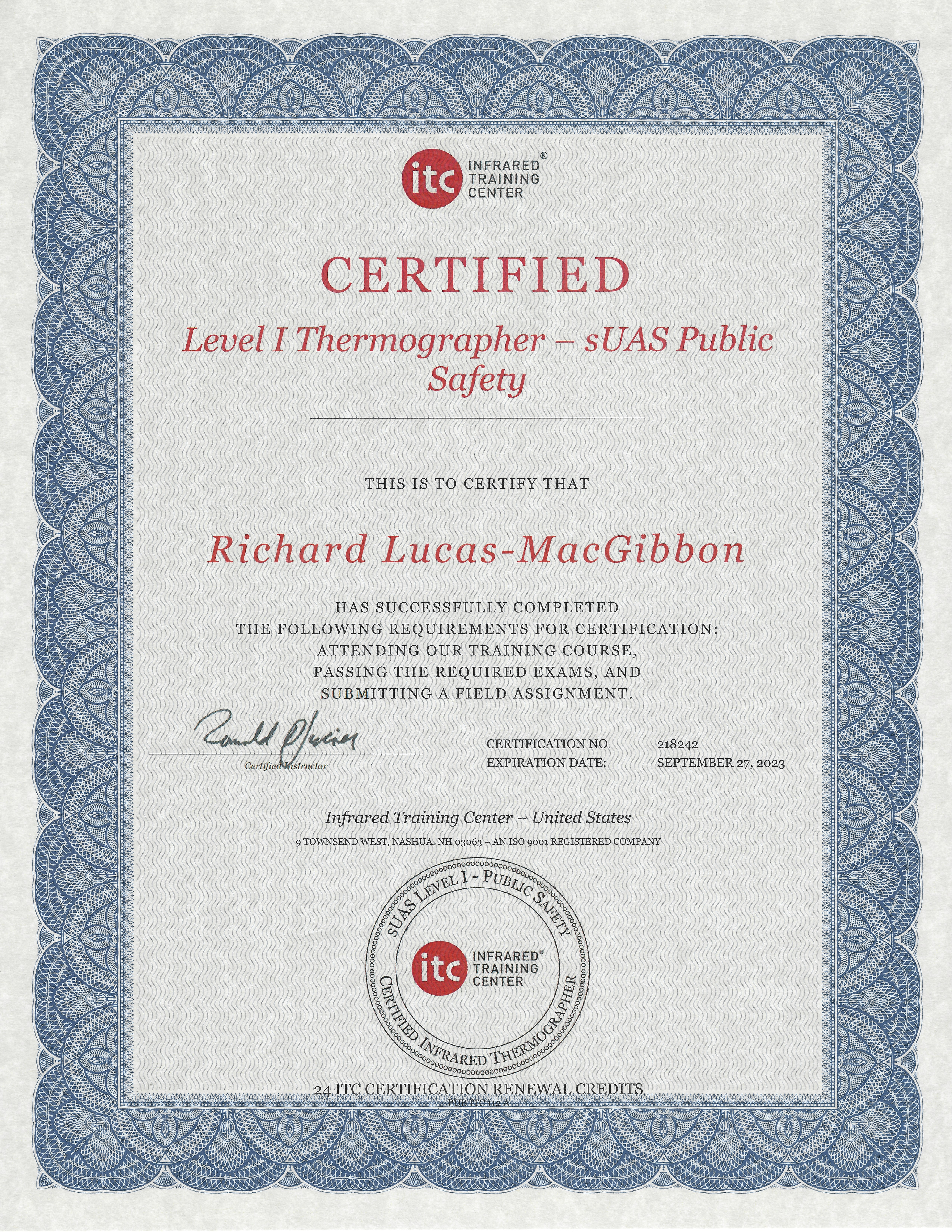 FRUO Chief Pilot Receives sUAS Level 1 Thermographer - Public Safety Certification