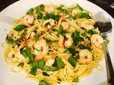 Lemon Shrimp & Capers Spaghetti