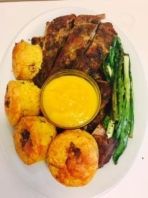 Habanero-Mango Glazed Ribs with Cheddar/Bacon Cornbread & Grilled Spring onions