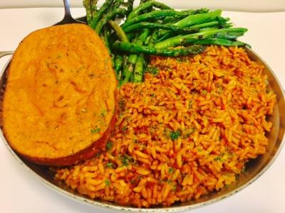 Nigerian Jollof Rice, Baked MoiMoi & Grilled Spring Veggies