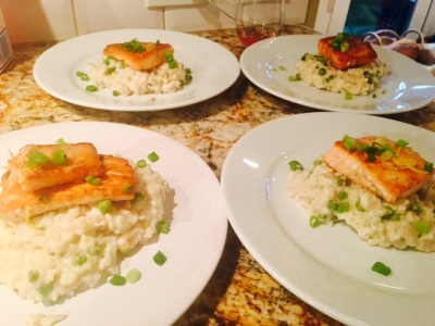Creamy Spring Risotto with Seared Salmon