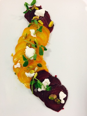Roast Beets with Goat cheese Salad