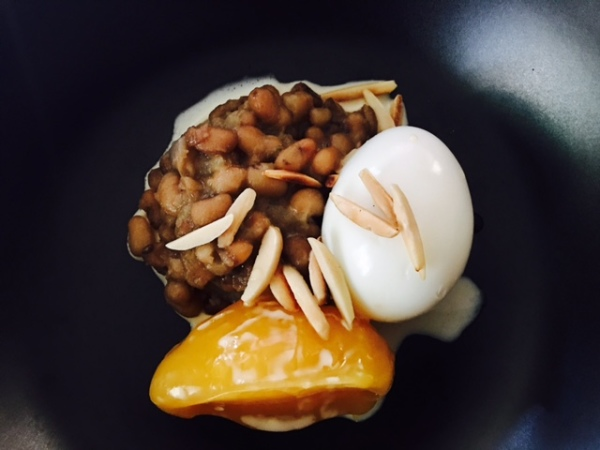 Oloyin Beans, Boiled Egg & Custard