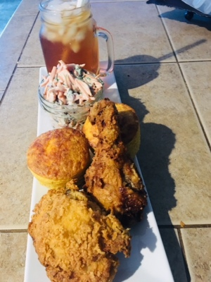 Buttermilk Fried Chicken Fennel Carrot Salad, Cheddar-Iru Cornbread & Peach Sweet Tea