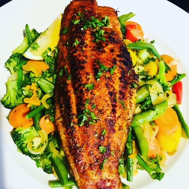 PK Blackened Catfish over Steamed Vegetables