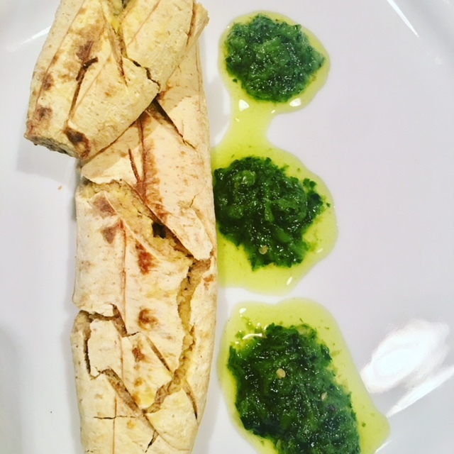 Baked Nigerian Unripe Plantain with Herbaceous Sauce