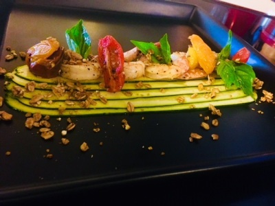 Open Flame Charred Shrimps on Grilled Zuchinni