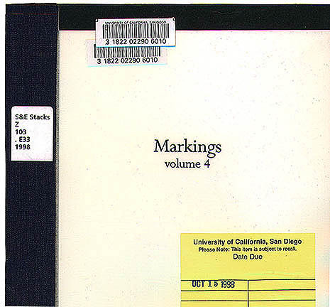 """Markings: vols. 1-12"" 1998"