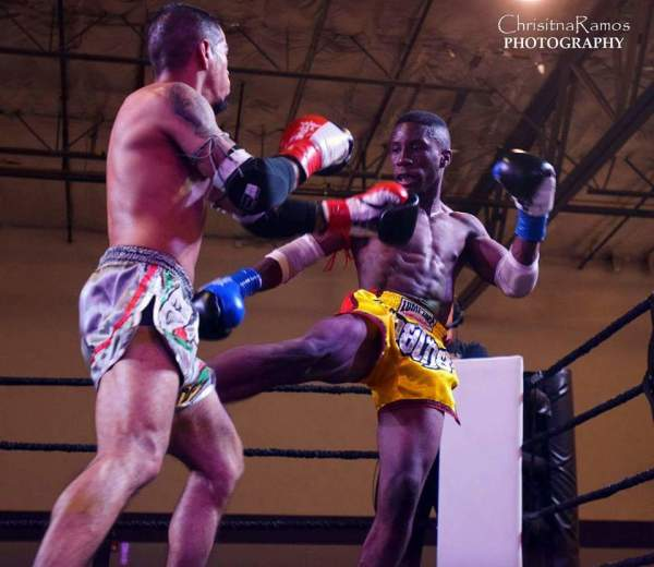 SCFF Amateur Fighter Diante White at Muay Thai fight (right)
