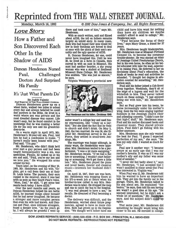 "Wall Street Journal Article ""Love Story: How a Father and Son Discovered Each Other in the Shadow of AIDS."""