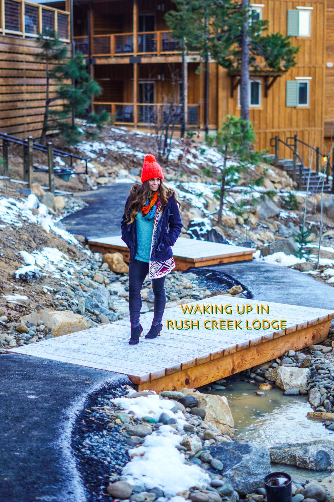 Waking up in Rush Creek Lodge, Yosemite CA
