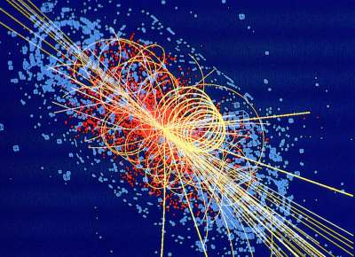 Particle traces in the Atlas detector