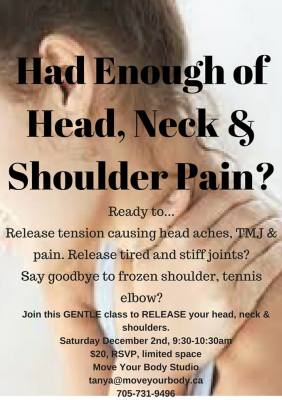 Release your Head, Neck and Shoulders Workshop