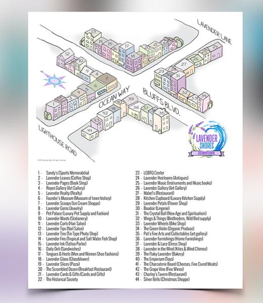 Lavender Shores Downtown Map