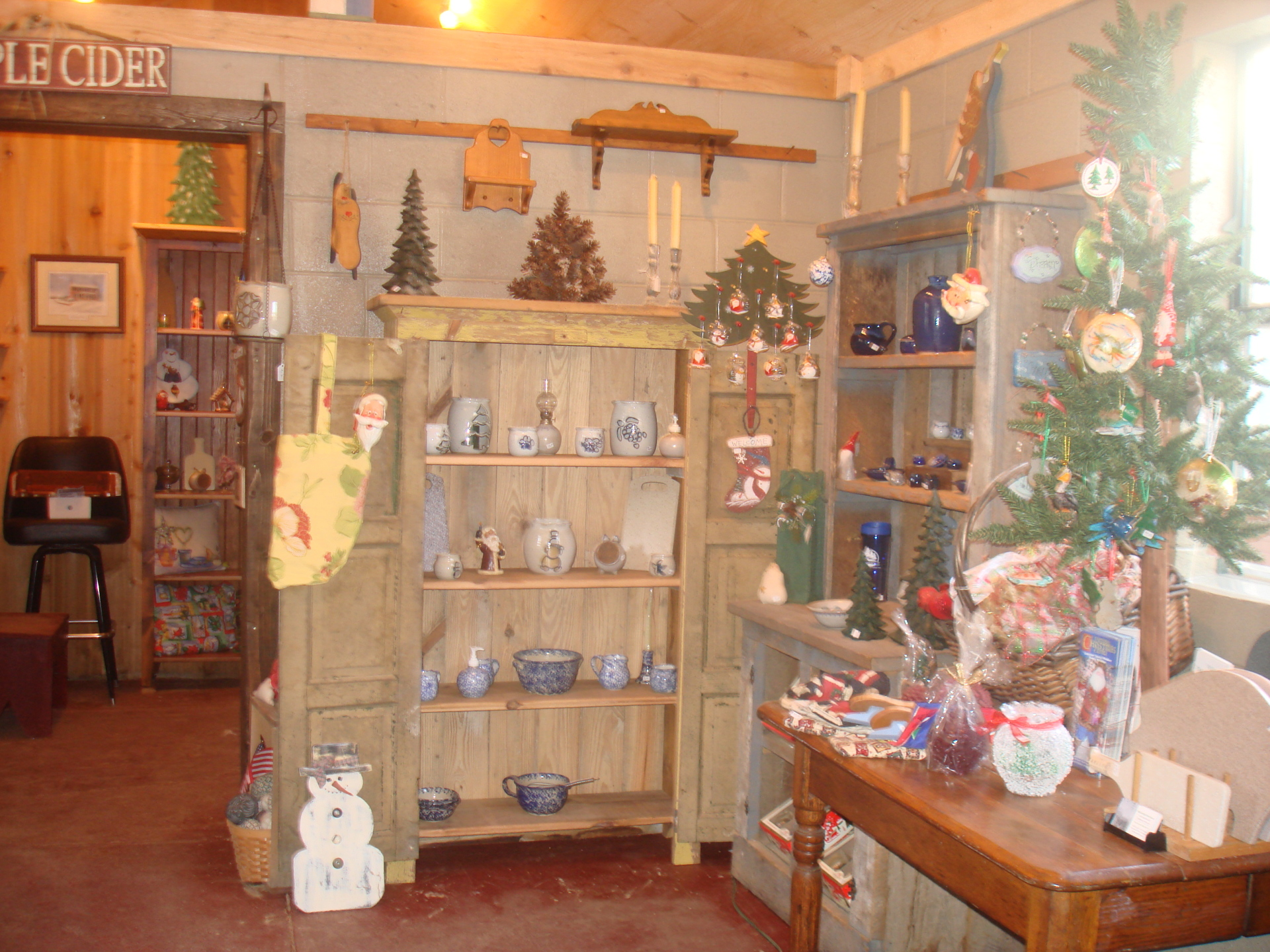 Shelves filled with handmade items