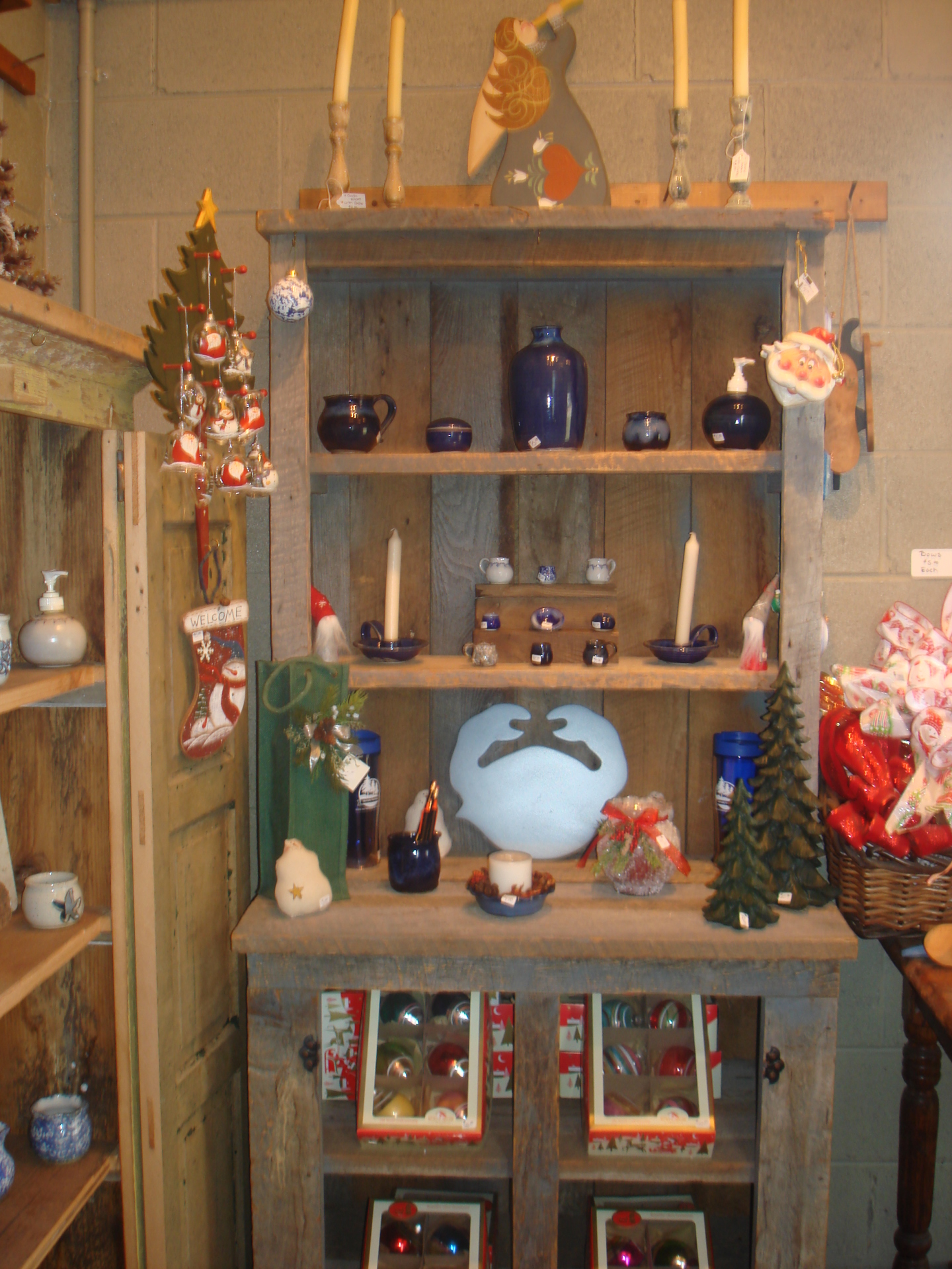 Shelves filled with various gift items
