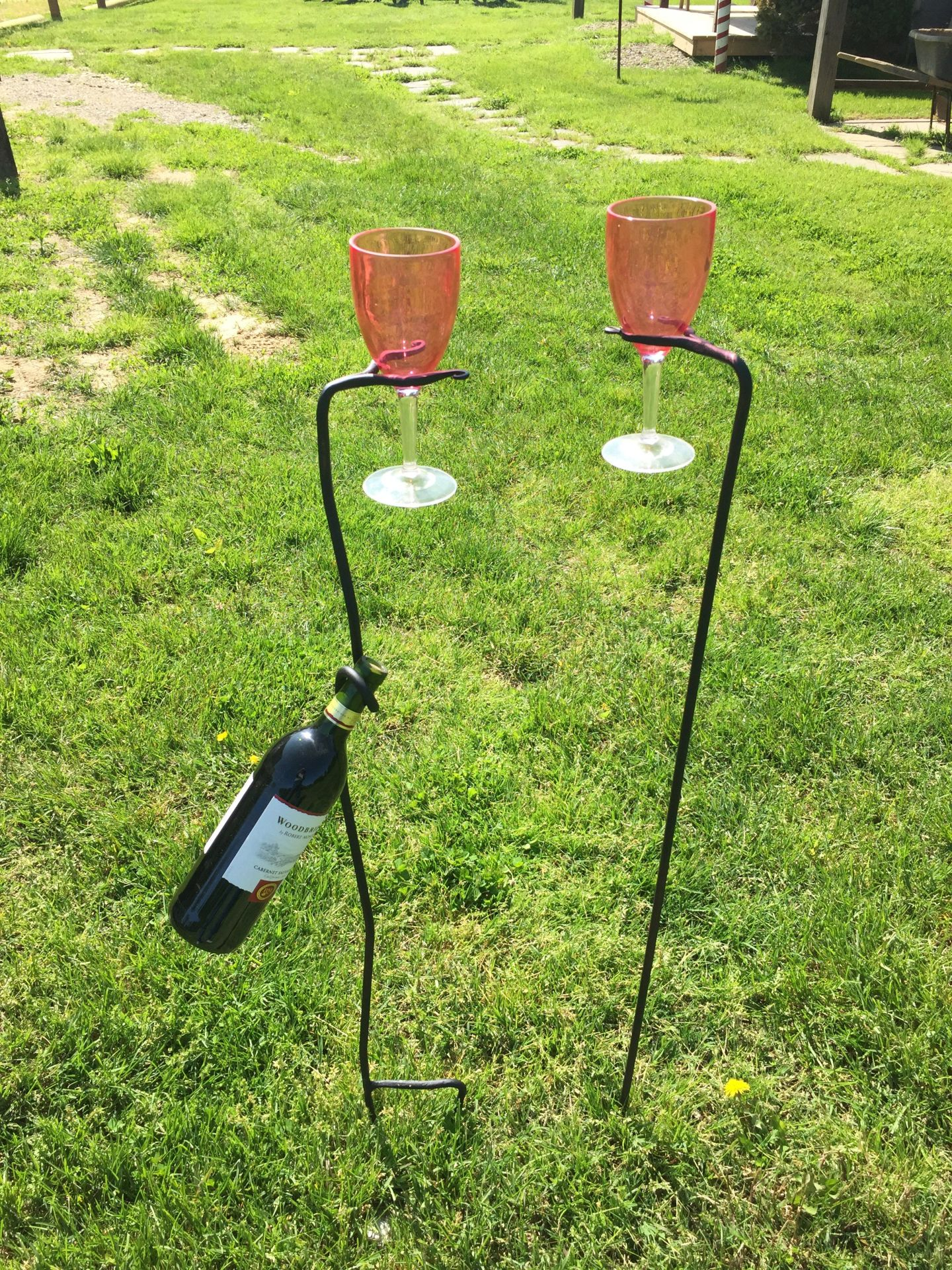 Yard Wine Glass & Wine Bottle holders