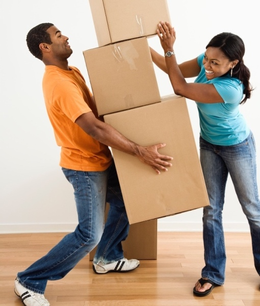 couple moving boxes