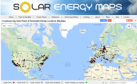 Map of solar roofs, solar parking and solar farms