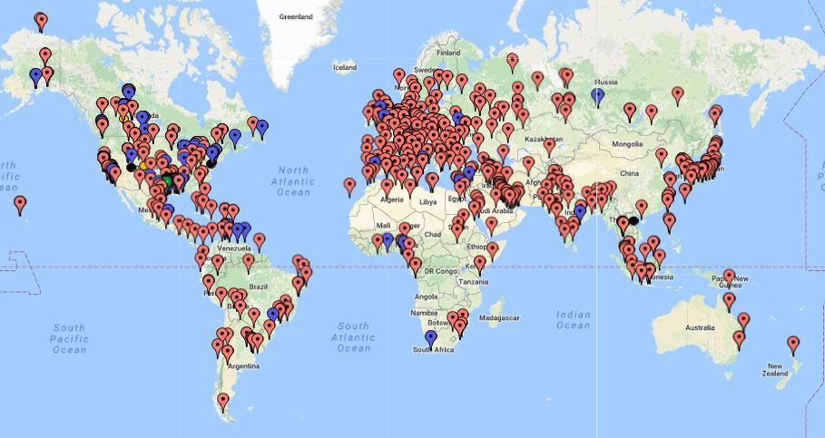 Map of Worldwide oil & gas refineries