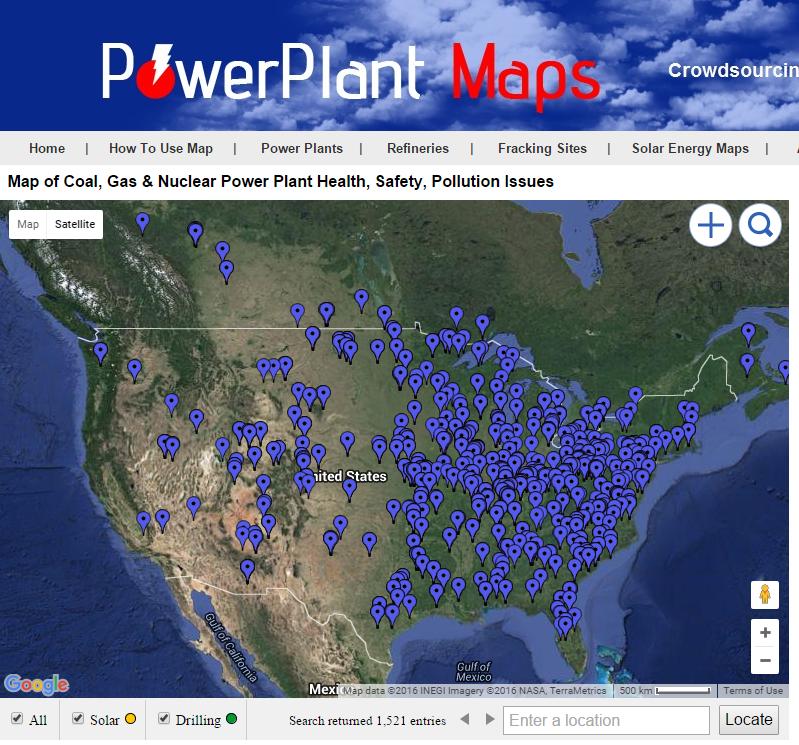 Map of coal ash ponds