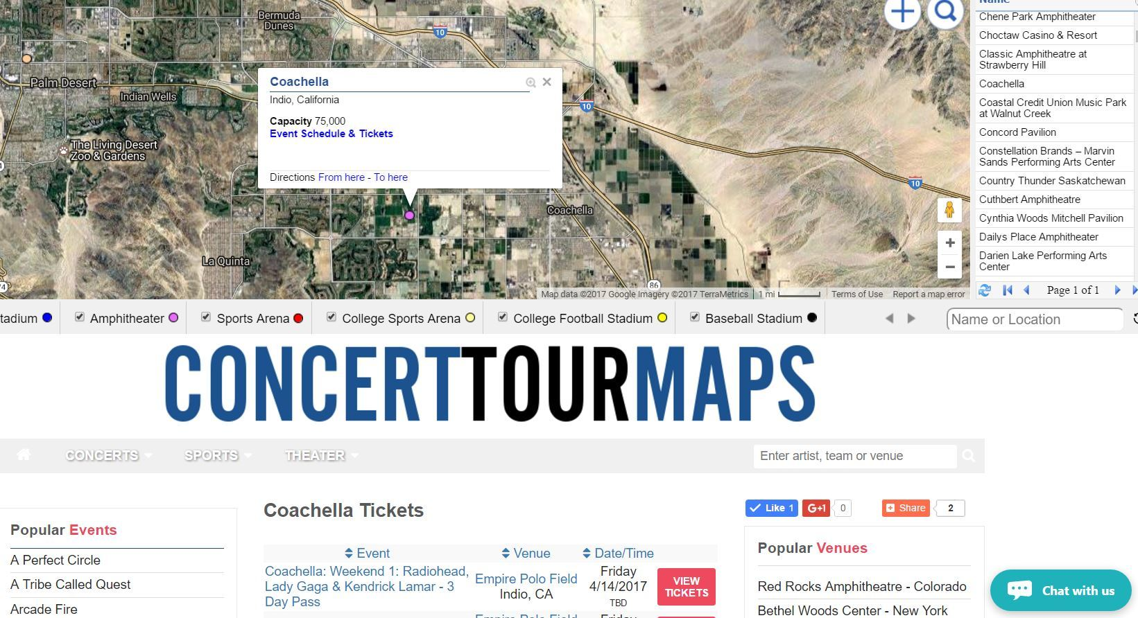 Map venue database of theaters, amphitheaters, stadiums, sports arena, concert halls and event centers.