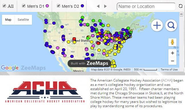 ACHA Hockey Map by Syndicated Maps