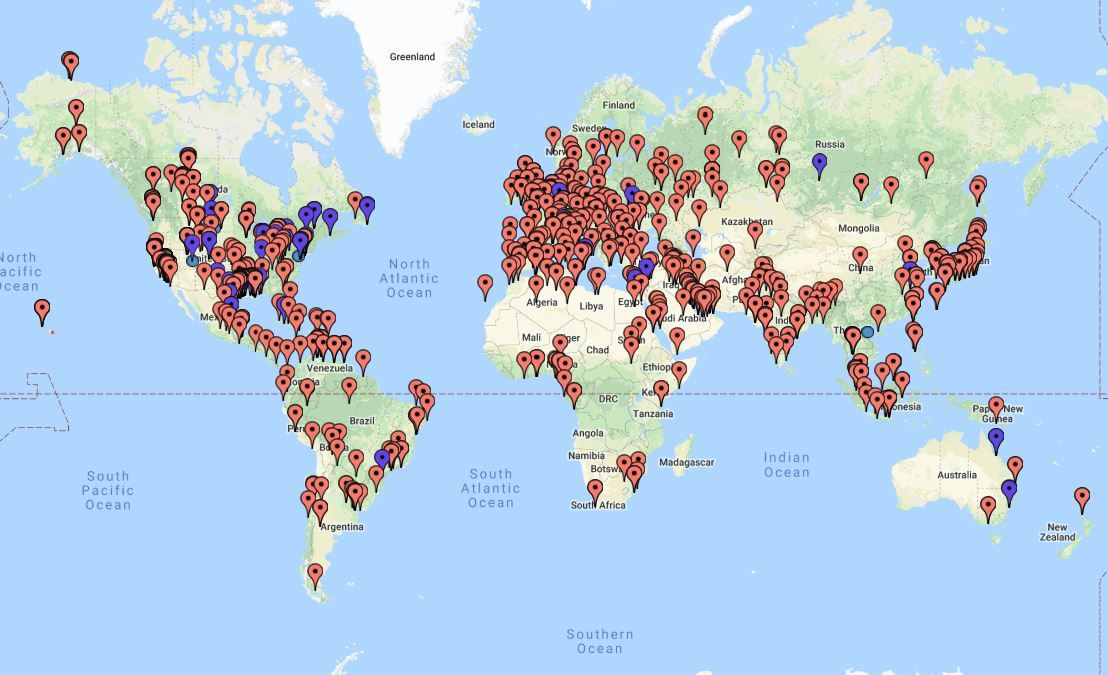 World map of oil & gas refineries
