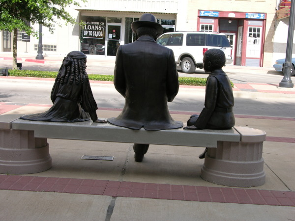 Back View of Treasured Moment Statue in Bryan, TX