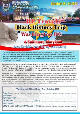 Black History Trip to Washington DC & Baltimore, Maryland October 2017