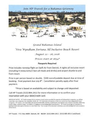 Grand Bahamas Island August 22 - 26, 2018
