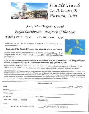 Havana Cuba Cruise July 28 - August 1, 2018