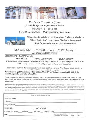 Spain & France Cruise October 19 - 26, 2018