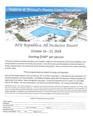 Punta Cana Vacation  October 16 - 21, 2018