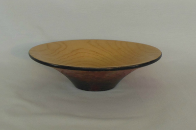 """#105       Ash Bowl with flame outside       7.25"""" wide by 2"""" high       $65.00"""
