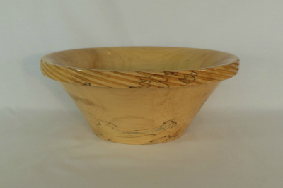 "#106       Ambrosia Maple Bowl with Spiral Edge       11"" wide by 4.5"" high       $120.00"