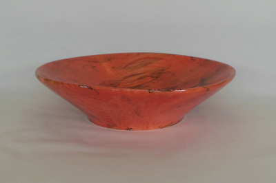 """#135       Spalted Maple Bowl Dyed Red       10.5"""" wide by 2.75"""" high       $45.00"""