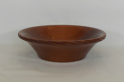"""#136       Sapelli Bowl with Spiral Edge       9"""" wide by 2.75"""" high       $70.00"""