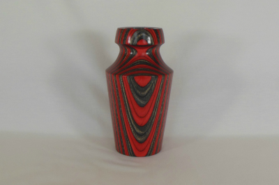 """#173       Laminated Birch Vase Red with Glass Insert       4"""" wide by 8.5"""" high       $50.00"""