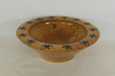 """#186       Oak Bowl with Branded Flower Rim       9"""" wide by 2"""" high       $125.00"""