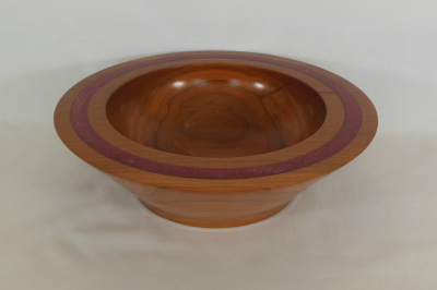 "#189       Cherry Bowl with Red Inlay Rim       12"" wide by 3.5"" high       $75.00"